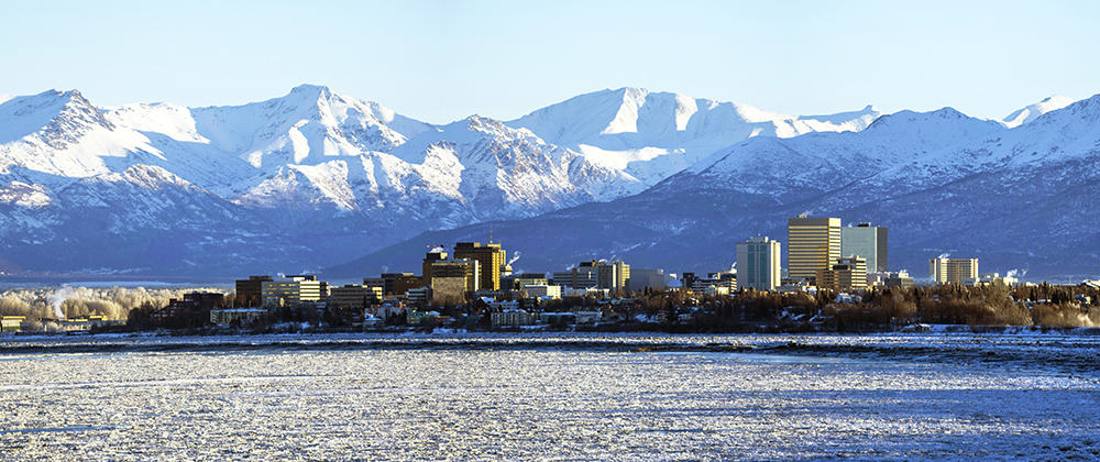 Anchorage, Alaska skyline shortly after sunrise
